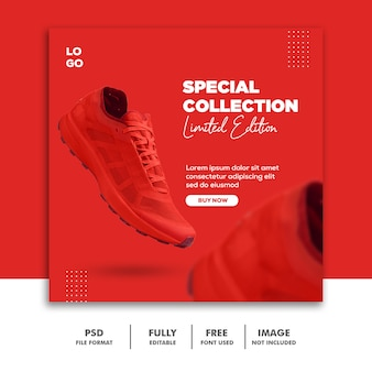 Social media banner post template zapatos de moda