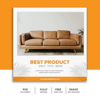 Social media banner template instagram, arredamento best orange luxury