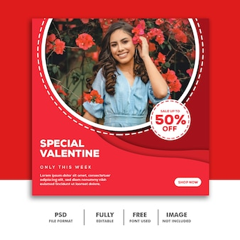 Social media banner template instagram, fashion special valentine