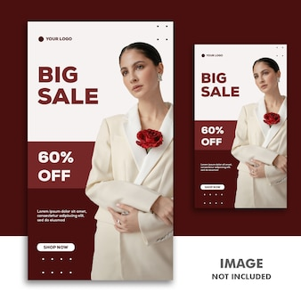Social media banner template instagram story, fashion red sale