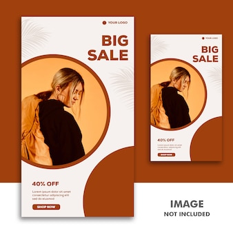 Social media banner template instagram-verhaal, fashion girl beautiful sale