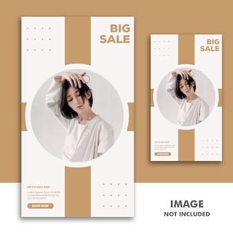 Social media banner template instagram-verhaal, fashion girl big sale