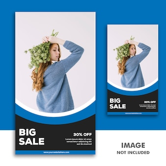 Social media banner template instagram-verhaal, fashion girl blue black