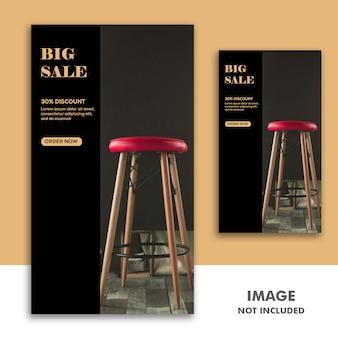 Social media banner template instagram-verhaal, meubelsverkoop black sale gold