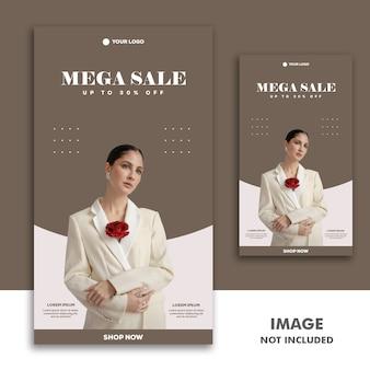 Social media banner template storia di instagram, fashion girl mega sale