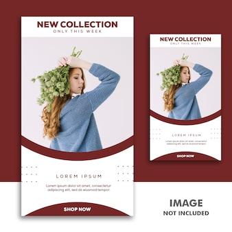 Social media banner template storia di instagram, fashion girl red