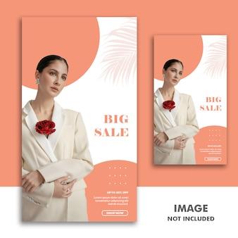 Social media banner template storia di instagram, fashion girl sale luxury