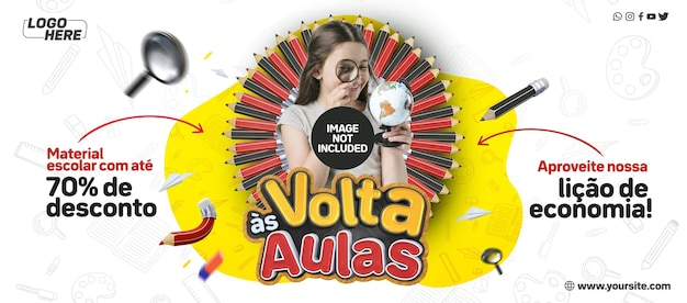 Social media banner terug naar school in brazilië profiteer van onze economieles
