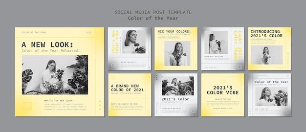 Social media-berichten met de kleur van het jaar