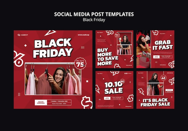 Social media-berichten op black friday-uitverkoop