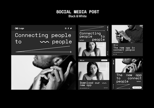 Social media-berichten van de app voor mensen verbinden