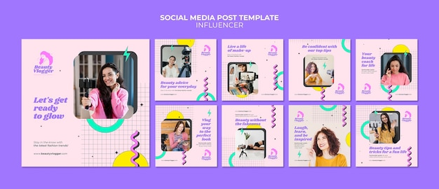 Social media-berichten van influencer in memphis-stijl Premium Psd