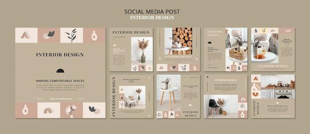 Social media-berichten voor interieurontwerp