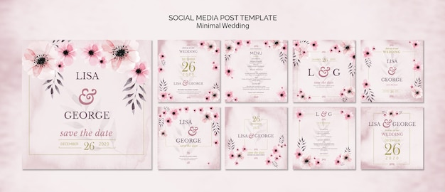 Social media bruiloft uitnodiging sjabloon