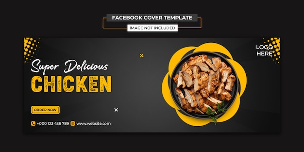 Social media delicious chicken e modello di copertina di facebook
