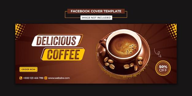 Social media di caffè delizioso e modello di post di copertina di facebook