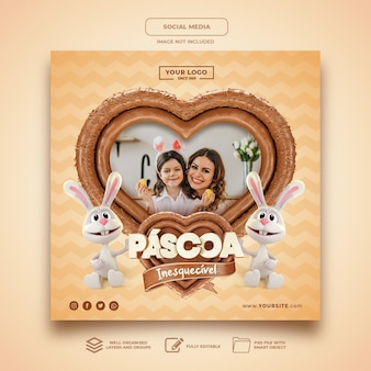 Social media easter in brasil hart chocolade sjabloon