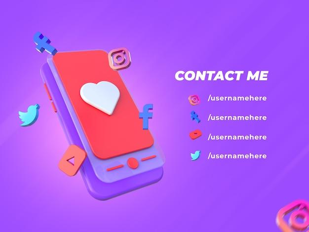 Social media facebook contact banner 3d render-sjabloon