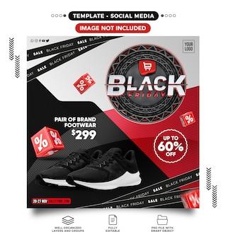 Social media-feed black friday-sjabloon met tot 60 korting voor online winkels