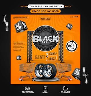 Social media feed black friday-spelaanbiedingen voor autowiel