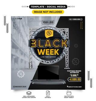 Social media feed zwarte week met producten in de aanbieding