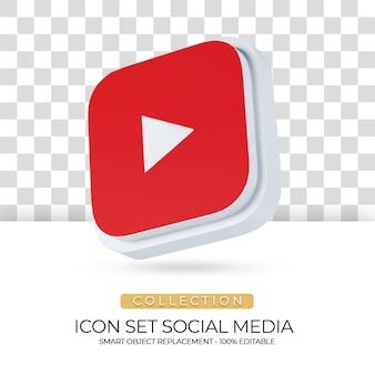 Social media geïsoleerd pictogram met witte achtergrond in 3d-rendering03