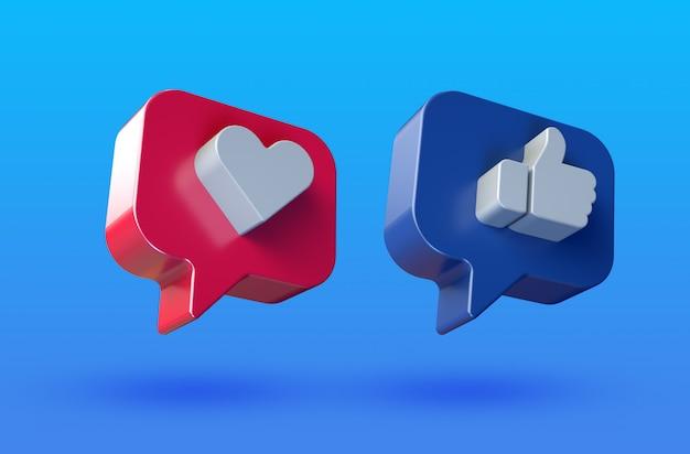 Social media houden van en houden van minimalistisch 3d-knoppictogram