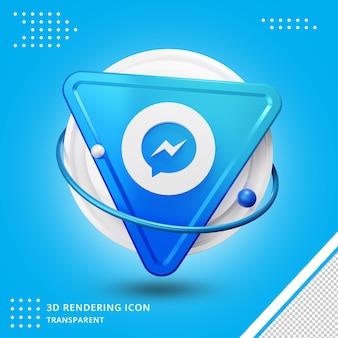 Social media icon messenger 3d-rendering geïsoleerd