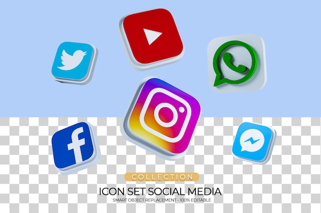 Social media icon set collectie 3d-rendering_2