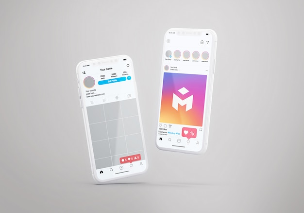 Social media instagram op mobiele telefoon mockup