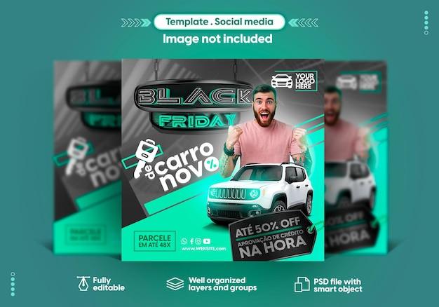 Social media instagram-sjabloon in het portugees black friday biedt verkoop en productpromotie