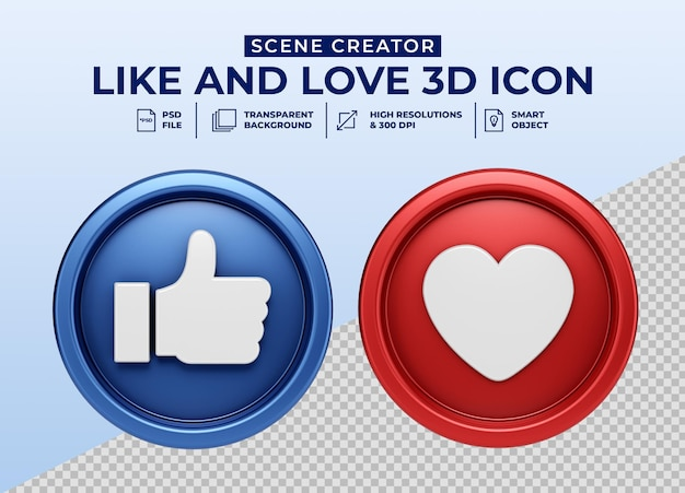Social media like and love minimalistisch 3d-knoppictogram voor de maker van de scène