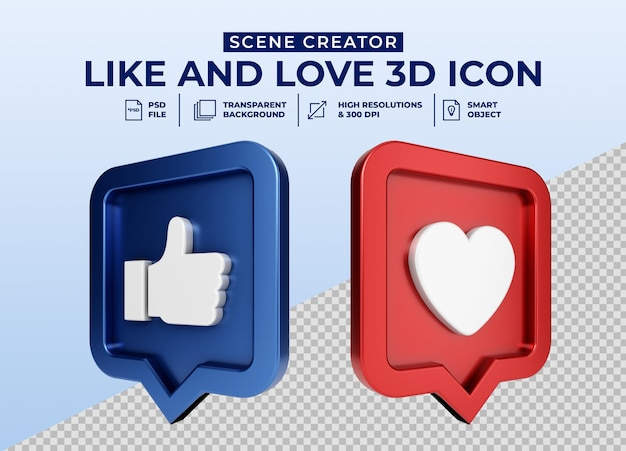 Social media like and love minimalistische 3d-knop pictogram badge