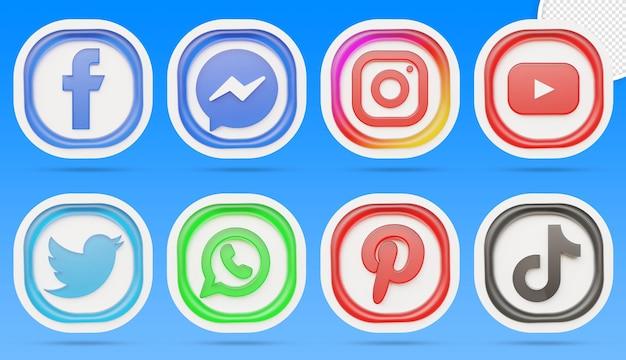 Social media logo's en pictogrammenset rendering geïsoleerd