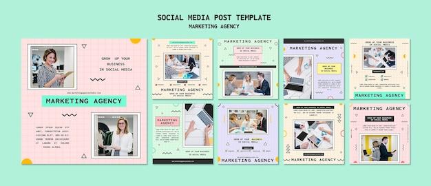 Social media marketingbureau social media postsjabloon