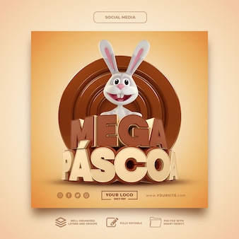Social media mega easter in brasil rabbit 3d render-sjabloon