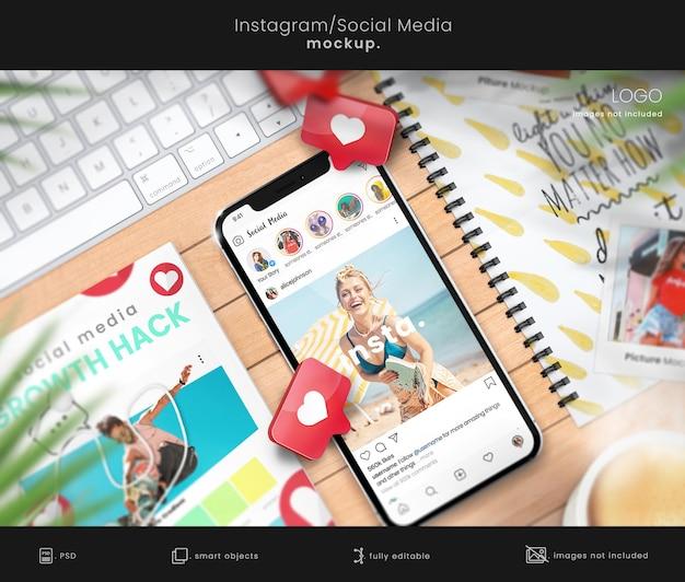 Social media-mockup van instagram-feedweergaveboek en notebookmodel