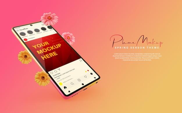 Social media plaatsen instagram-mockup op smartphone voor het thema van het lenteseizoen