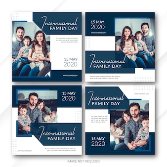 Social media post banner bundle plantilla del día internacional de la familia