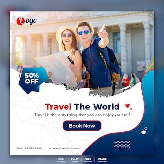 Social media post banner voor reizen