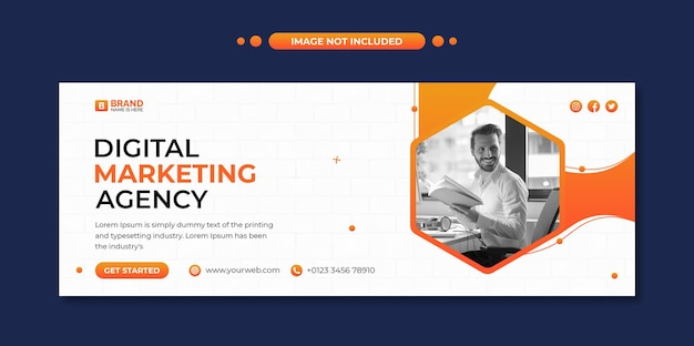 Social media post en webbannersjabloon voor digitaal marketingbureau