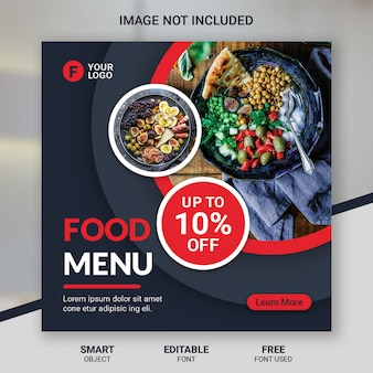 Social media post eten korting restaurant sjabloon