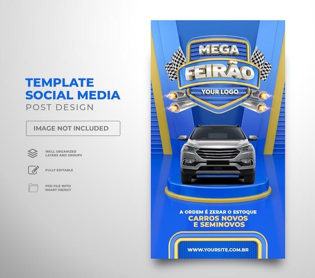 Social media post instagram autobeurs in brazilië 3d render sjabloonontwerp portugees