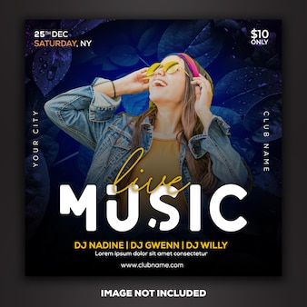 Social media post instagram-sjabloon dj club party music