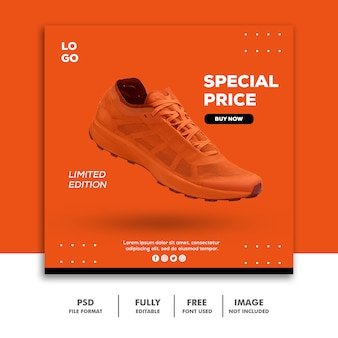 Social media post instagram square banner template shoes special orange
