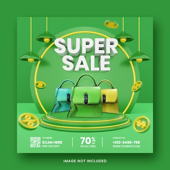 Social media post instagram super sale 3d render-sjabloon
