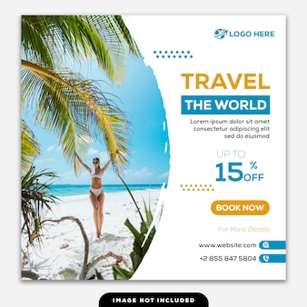 Social media post instagram template travel