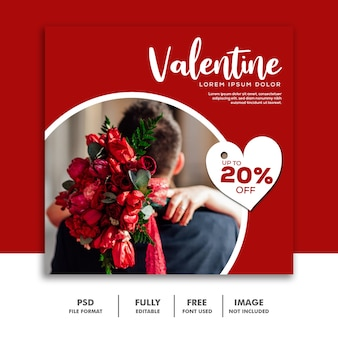 Social media post instagram valentine banner, coppia fiore rosso