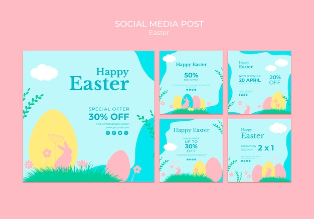 Social media post met pasen verkoop