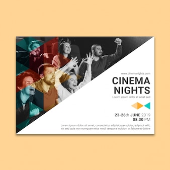 Social media post mockup con il concetto di cinema